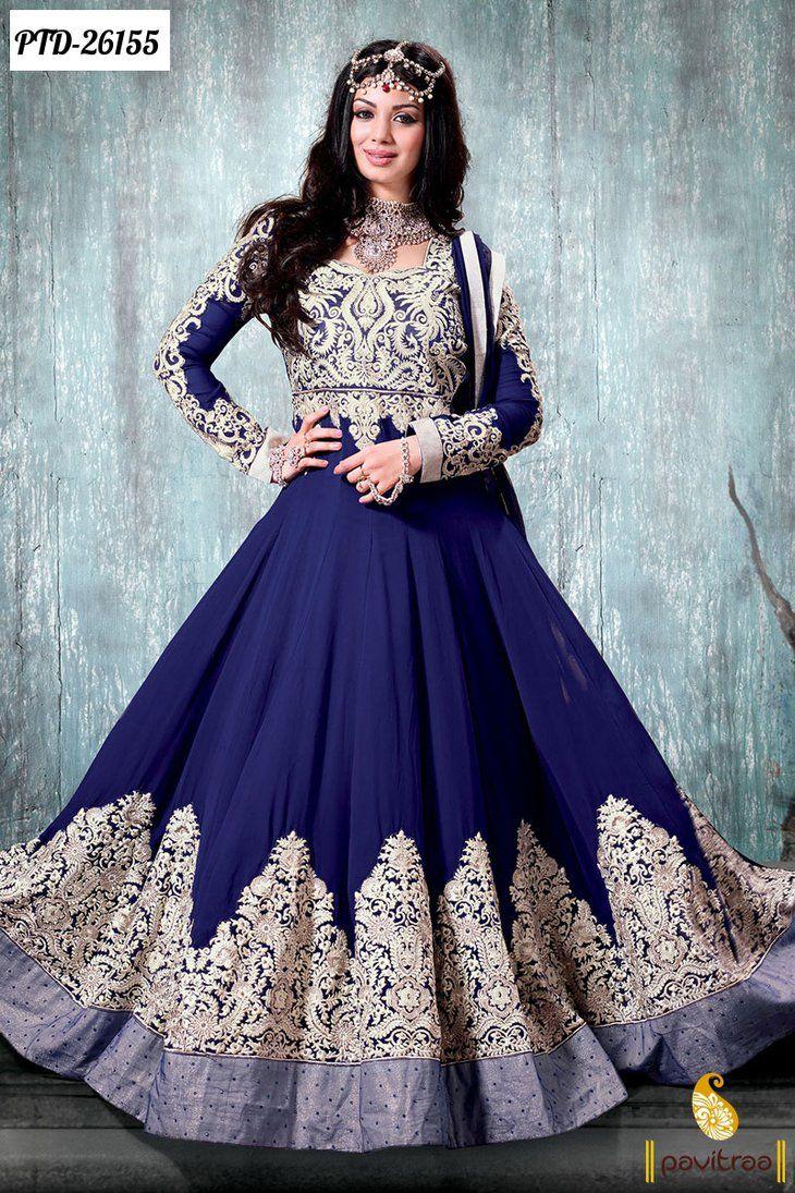 Blue Designer Bridal Anarkali Salwar Suits By Pavitraa