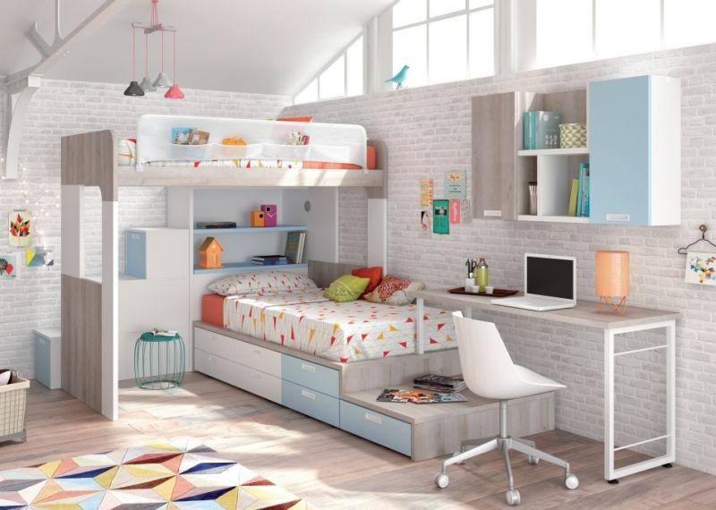 Acogedora y espectacular litera en ele prolongada con mesa for Dormitorios juveniles a medida