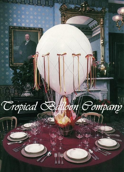 Elegant hot air balloon centerpiece cakes party ideas for Balloon nets for centerpieces