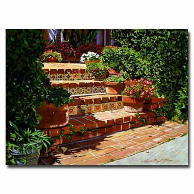 "Trademark Art ""A Spanish Garden"" by David Lloyd Glover Painting Print on Wrapped Canvas 