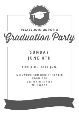 Ribbon Graduation Printable Invitation Template Customize Add Text