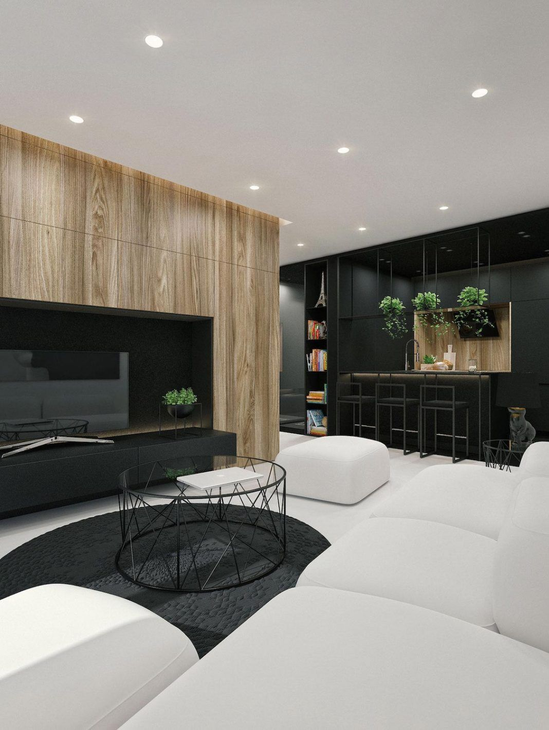 Contemporary Design Living Room Best Black & White Apartment In Lithuania Interjeras Kauneidwhite Inspiration