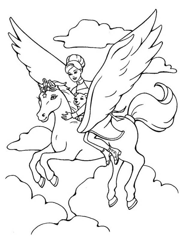 Barbie Ride The Magical Pegasus Coloring Page Kids Play Color Unicorn Coloring Pages Princess Coloring Pages Horse Coloring Pages