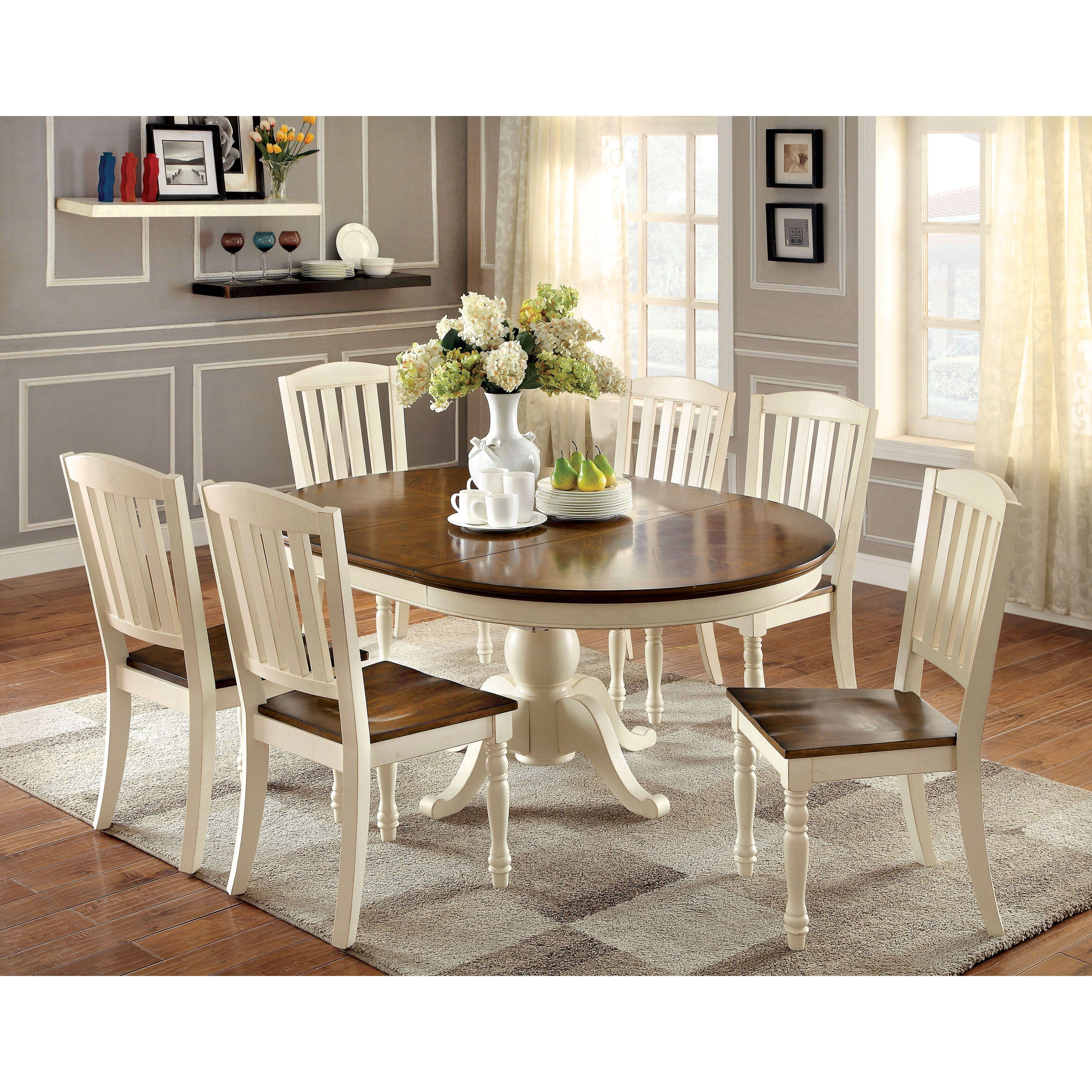 Furniture of America Besette Cottage Oval Dining Table
