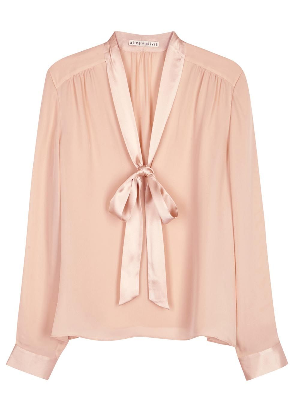 fd73fce882ea9c Alice + Olivia light pink silk crepe blouse Satin neck ties and  button-fastening cuffs