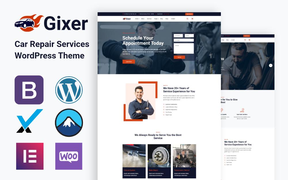 Gixer Auto Repair And Car Service Wordpress Theme Auto Repair Wordpress Theme Car Repair Service
