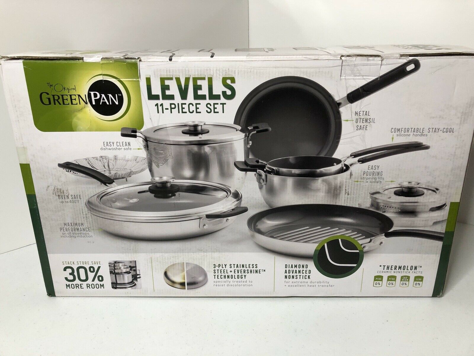 Greenpan Levels 11 Pc Stainless Steel Stackable Ceramic Nonstick