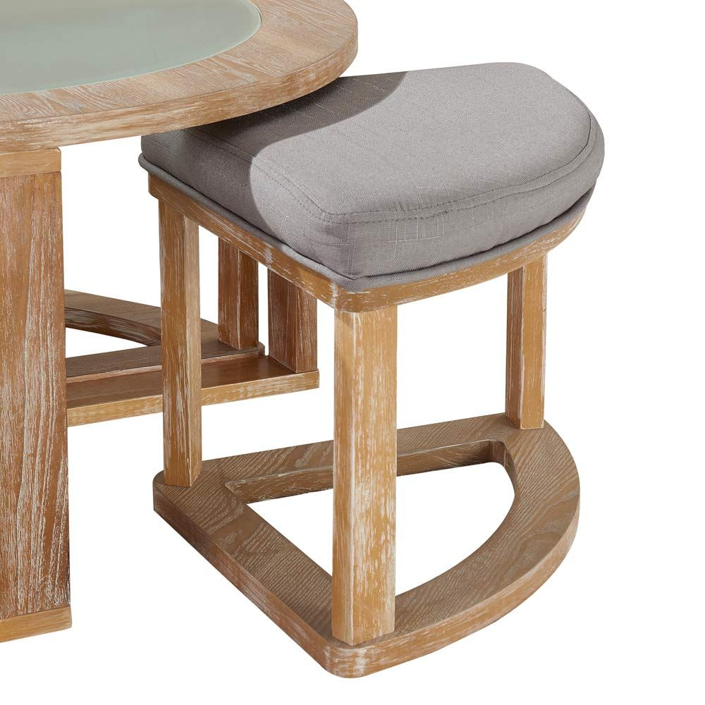 Round Coffee Table With 4 Nesting Stools Natural Round Coffee Table Farmhouse Style Coffee Table Coffee Table [ jpg ]