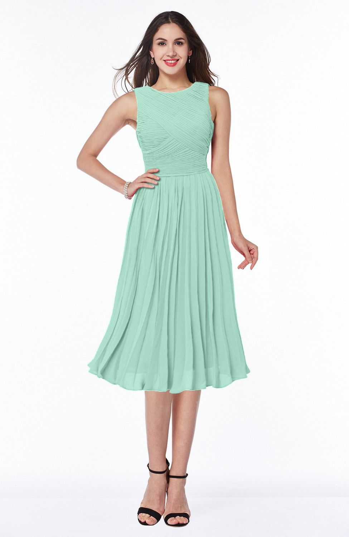 Honeydew Bridesmaid Dress - Modern A-line V-neck Sleeveless Tea ...