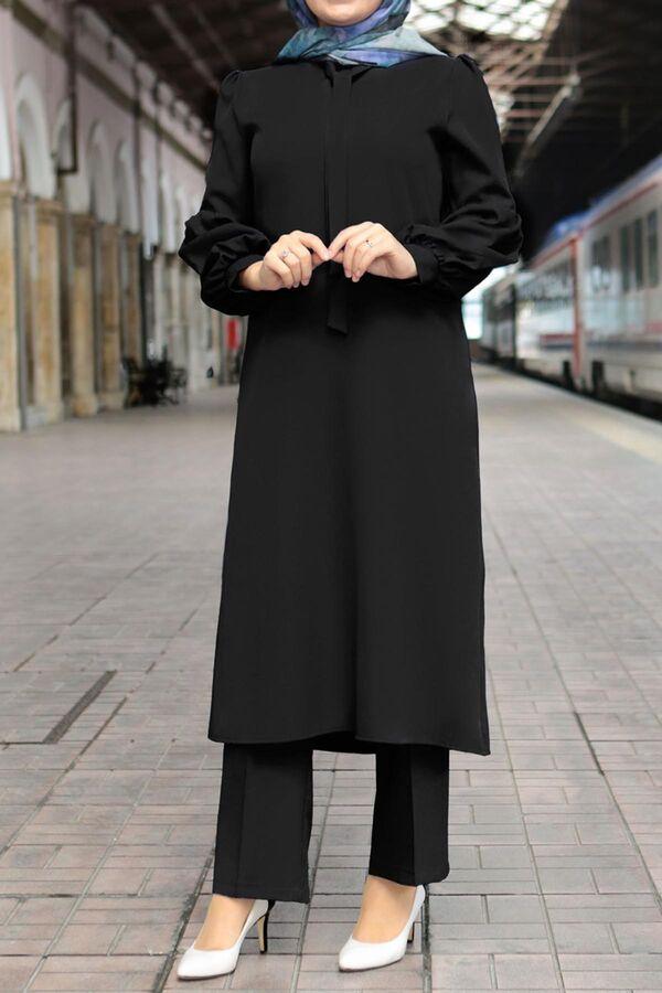 طقم أسود كريب تسوق أون لاين حجاب مودانيسا أزياء محجبات ملابس محجبات فساتين جلباب عباية ملابس فستان تونيك فستان طويل تسوق من ت Fashion Dresses Style