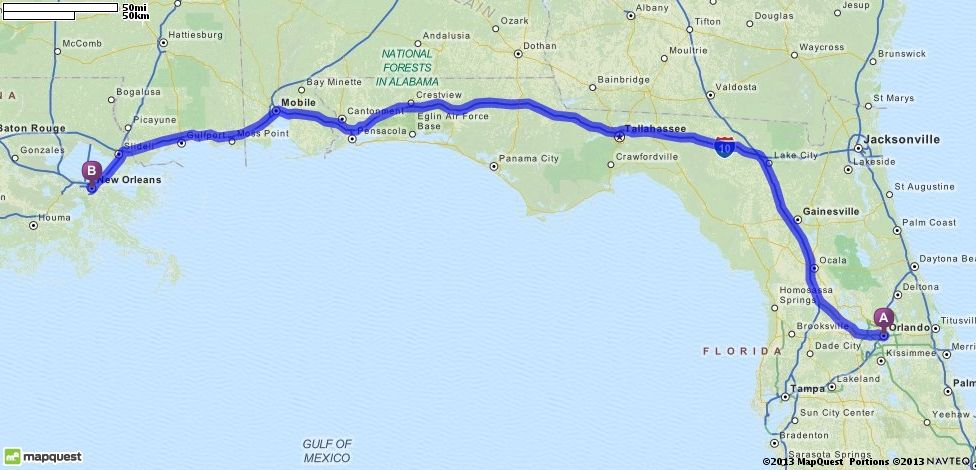 Driving Directions From Orlando Florida To New Orleans Louisiana - Mapquest portugal