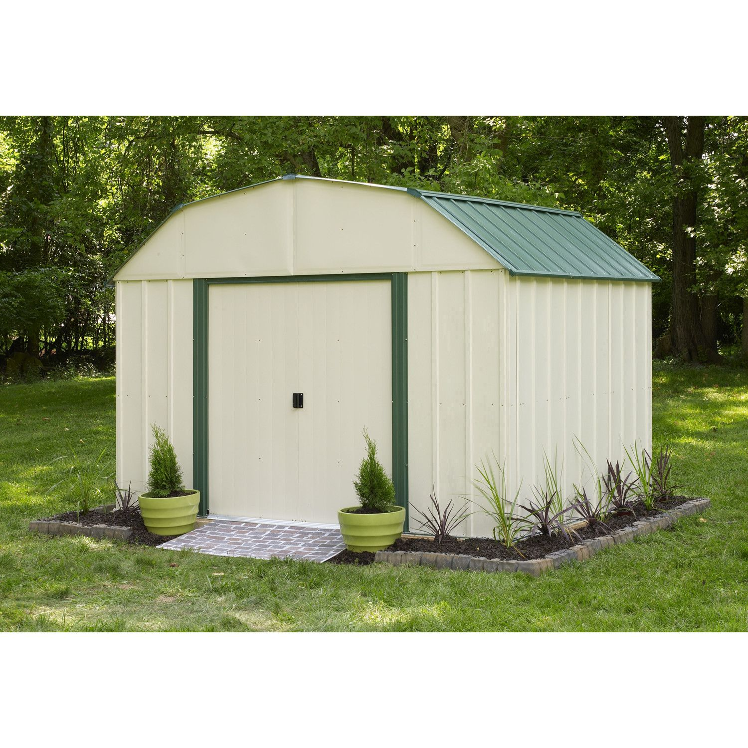 Arrow Sheridan 10 Ft W X 8 Ft D Steel Storage Shed Vinyl Storage Sheds Steel Storage Sheds Shed