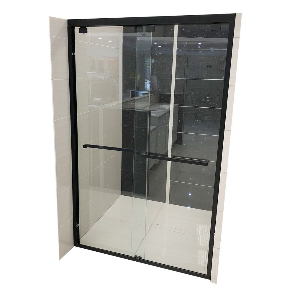 1100 1600 1950mm Shower Screen Matt Black Semi Frame Wall To Wall Sliding Door Ebay Shower Screen Sliding Doors Frames On Wall