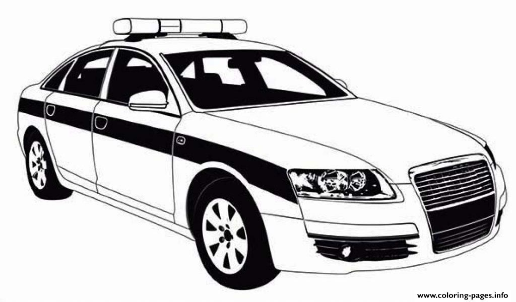 Free Download Police Car Patrol On The Road Coloring Pages