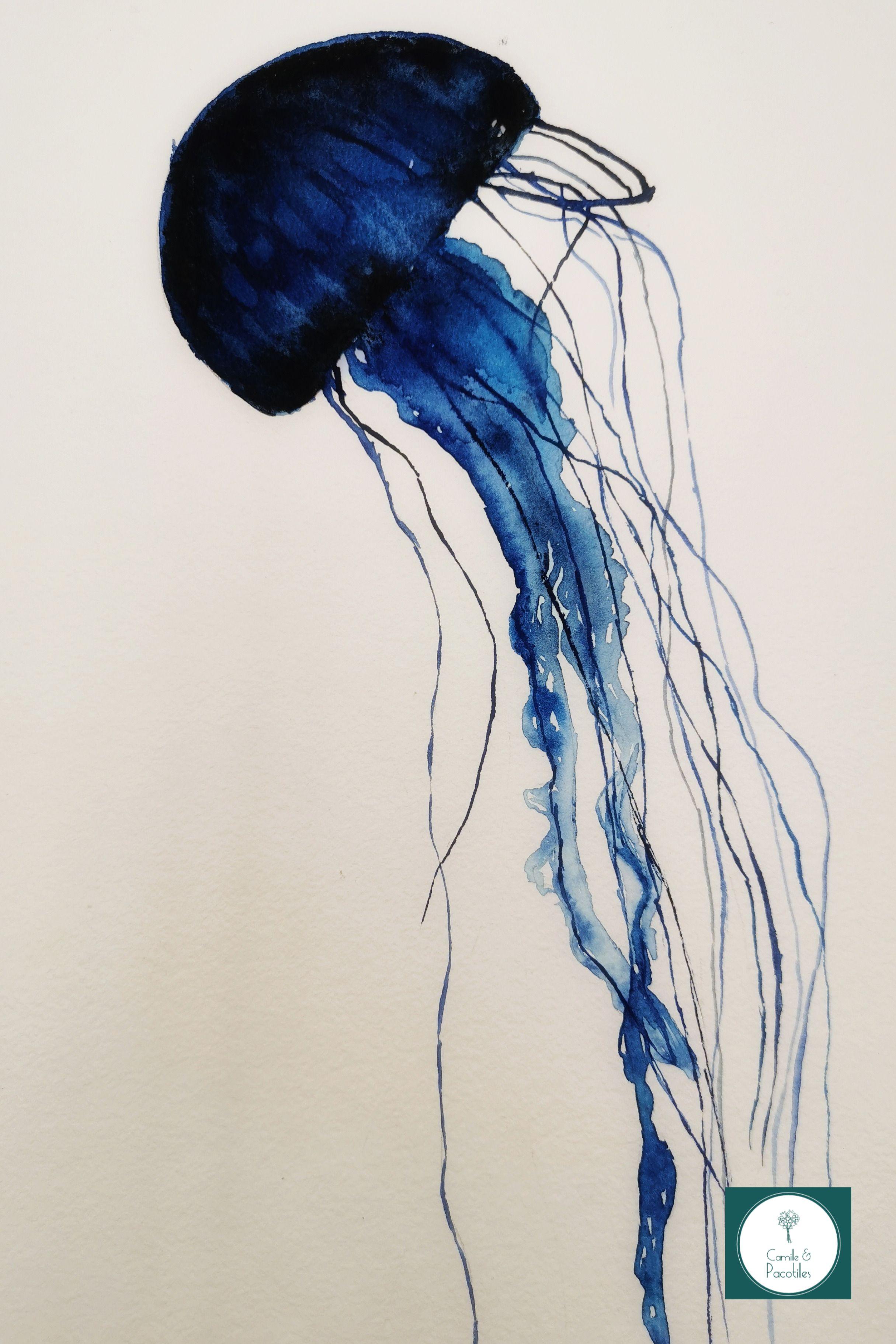 Aquarelle méduse bleu Sennelier et encre de chine. Papier Léonardo hahnemühle (mon préféré- je vous prépare un article sur mon matériel :))  Pour celle-ci j'ai préféré la faire sans fond pour lui donner un aspect plus graphique et nébuleux.