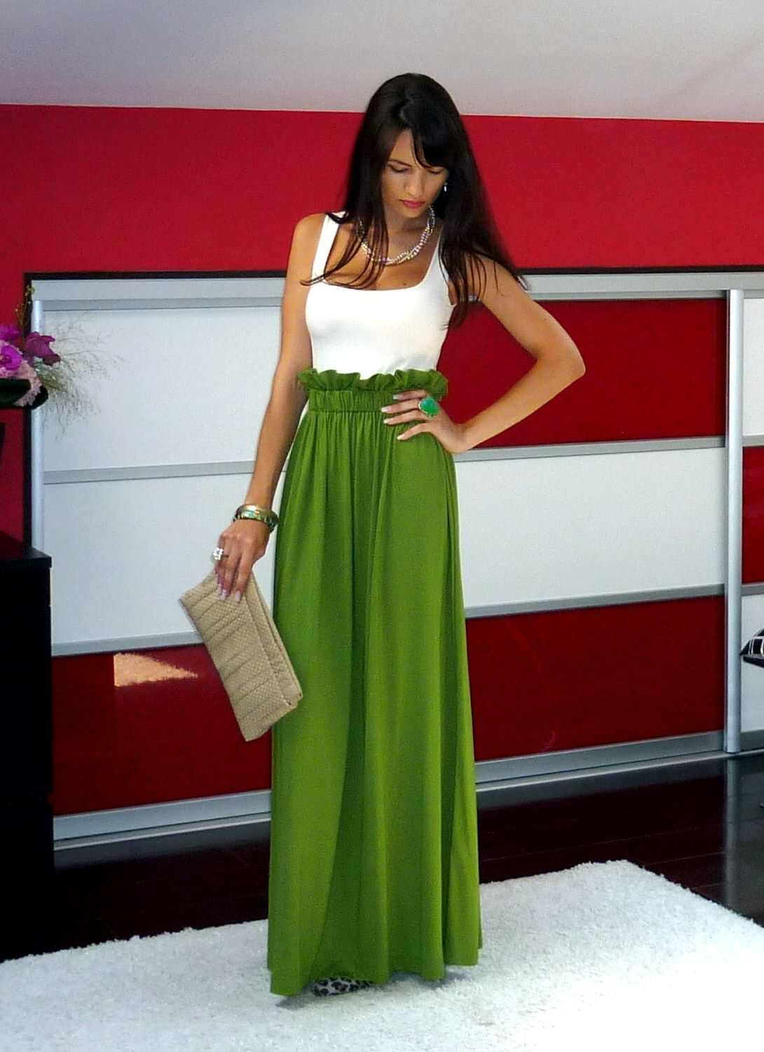 Olive green skirt my style pinterest green maxi olive green