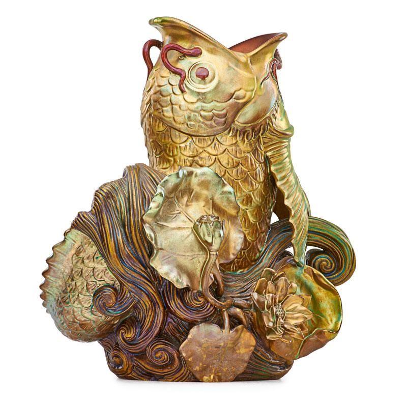 ZSOLNAY Exceptional carp vase
