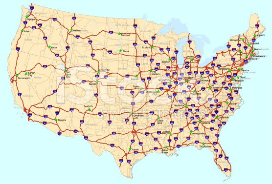 Map Of The Conterminous United States With Interstate System - Road map us states