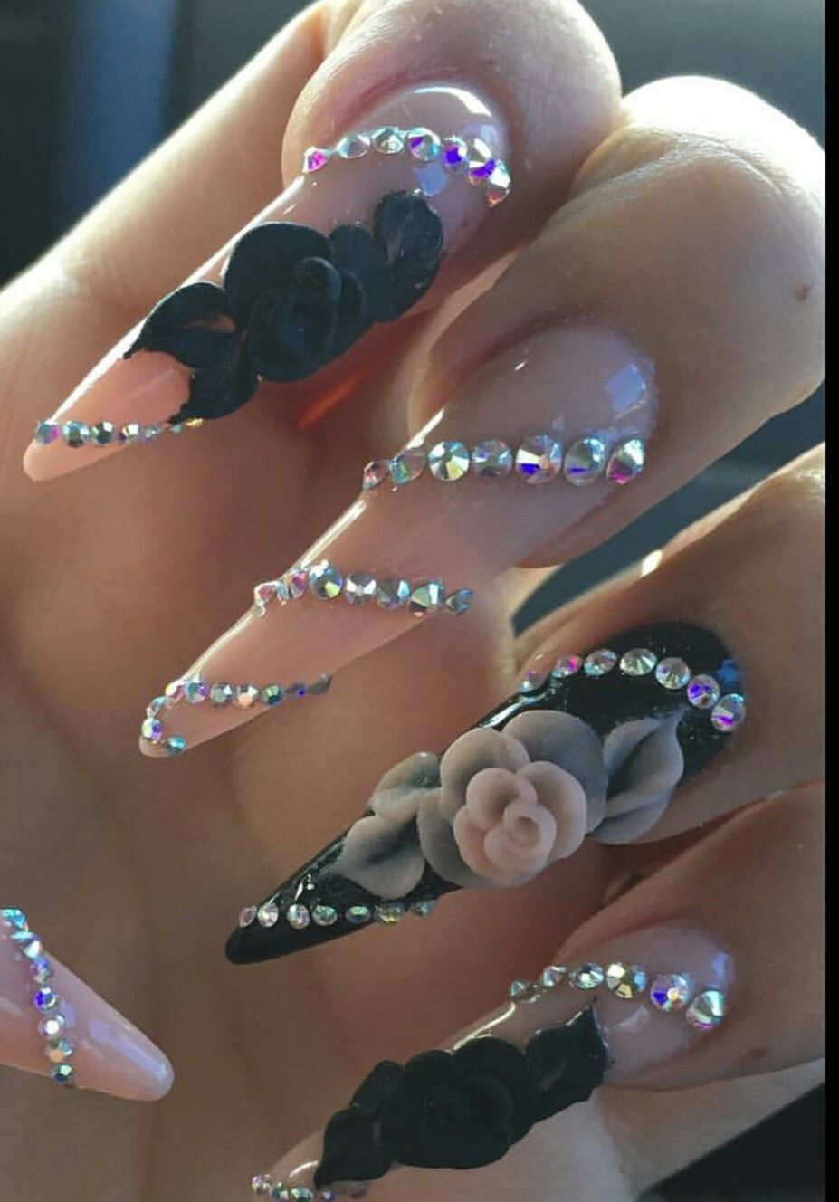 Floral Rhinestone Nails Design Nailart Nails By Ylianne Makeup