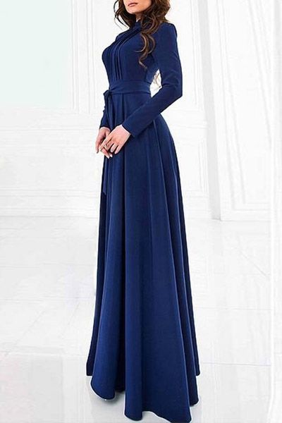 Solid Color Stand Neck Long Sleeve Maxi Dress  a496eeb97b6a