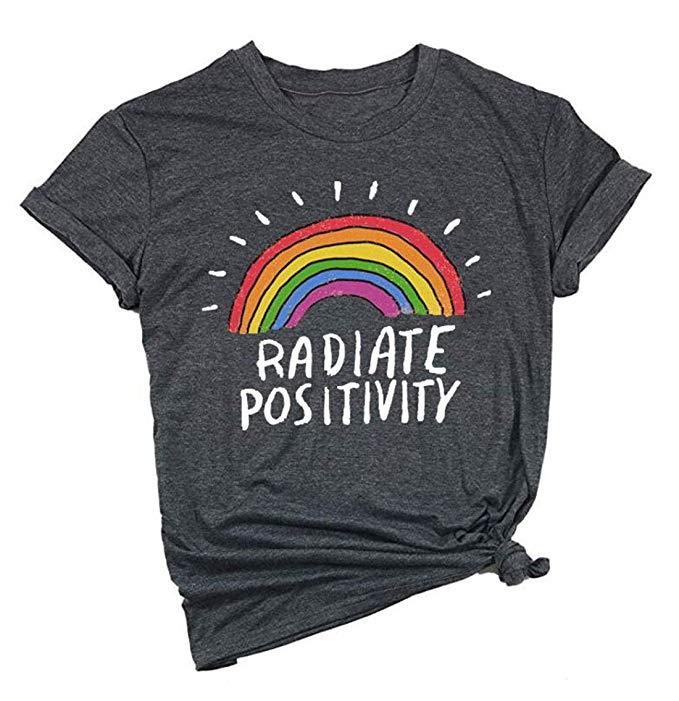 DORFALNE Womens Happy Graphic Printing Tees Summer Round Neck Short Sleeve T-Shirts Tops