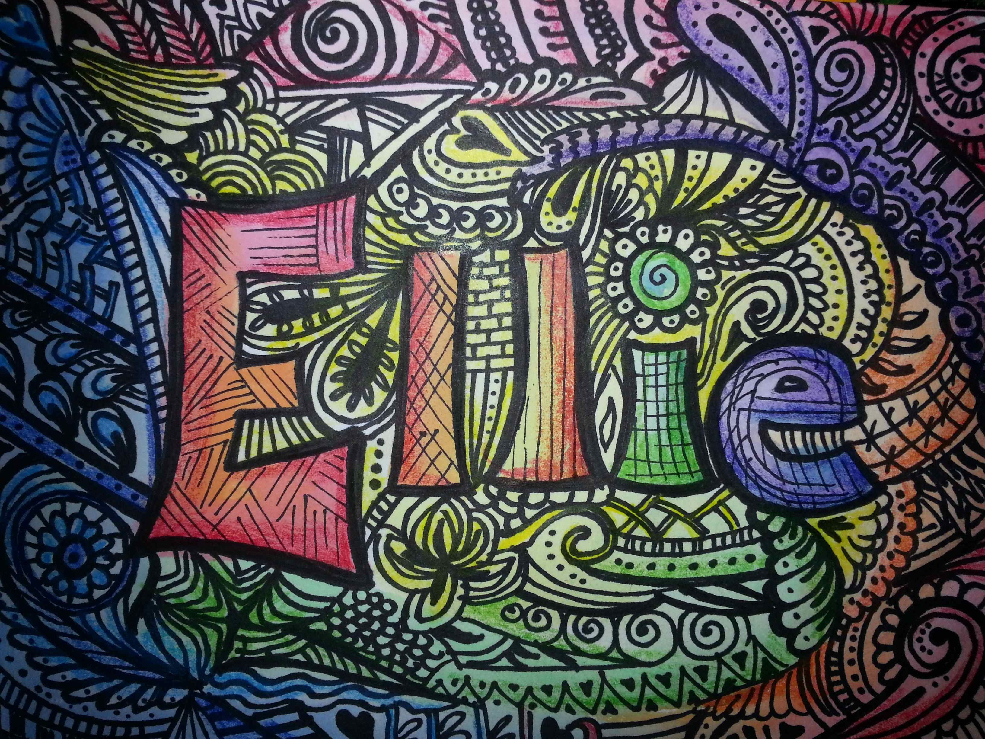 Zentanlged name. Watercolor background, zentangle over