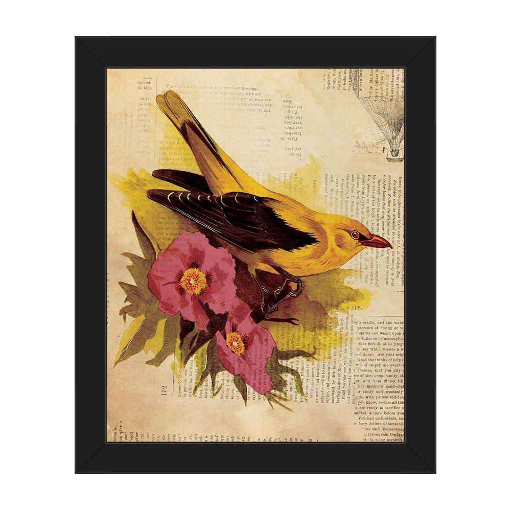 Horizon \'Goldfinch Fuchsia Flowers\' Framed Canvas Wall Art ...