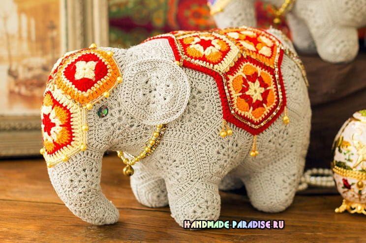eea3a56b2b10 Индийский слон мотивами африканский цветок (2) Африканские Цветы, Вязание  Крючком, Амигуруми,