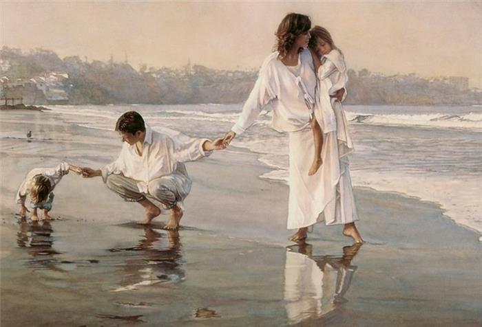 """""""Família unida"""", do pintor realista contemporâneo Steve Hanks (1949-2015)"""