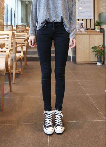 Solid Color Zipper Skinny Straight Leg Fashionable Style Women's ...