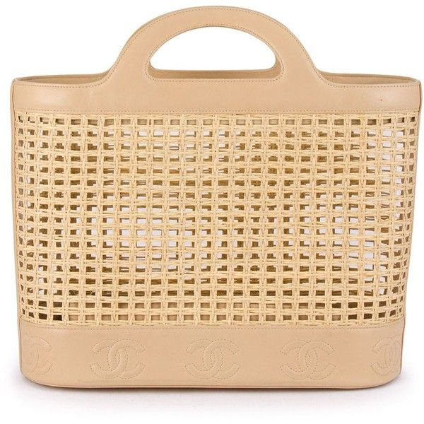 0cf2a3ce8700 Pre-owned Chanel Vintage woven tote (€2.330) ❤ liked on Polyvore featuring