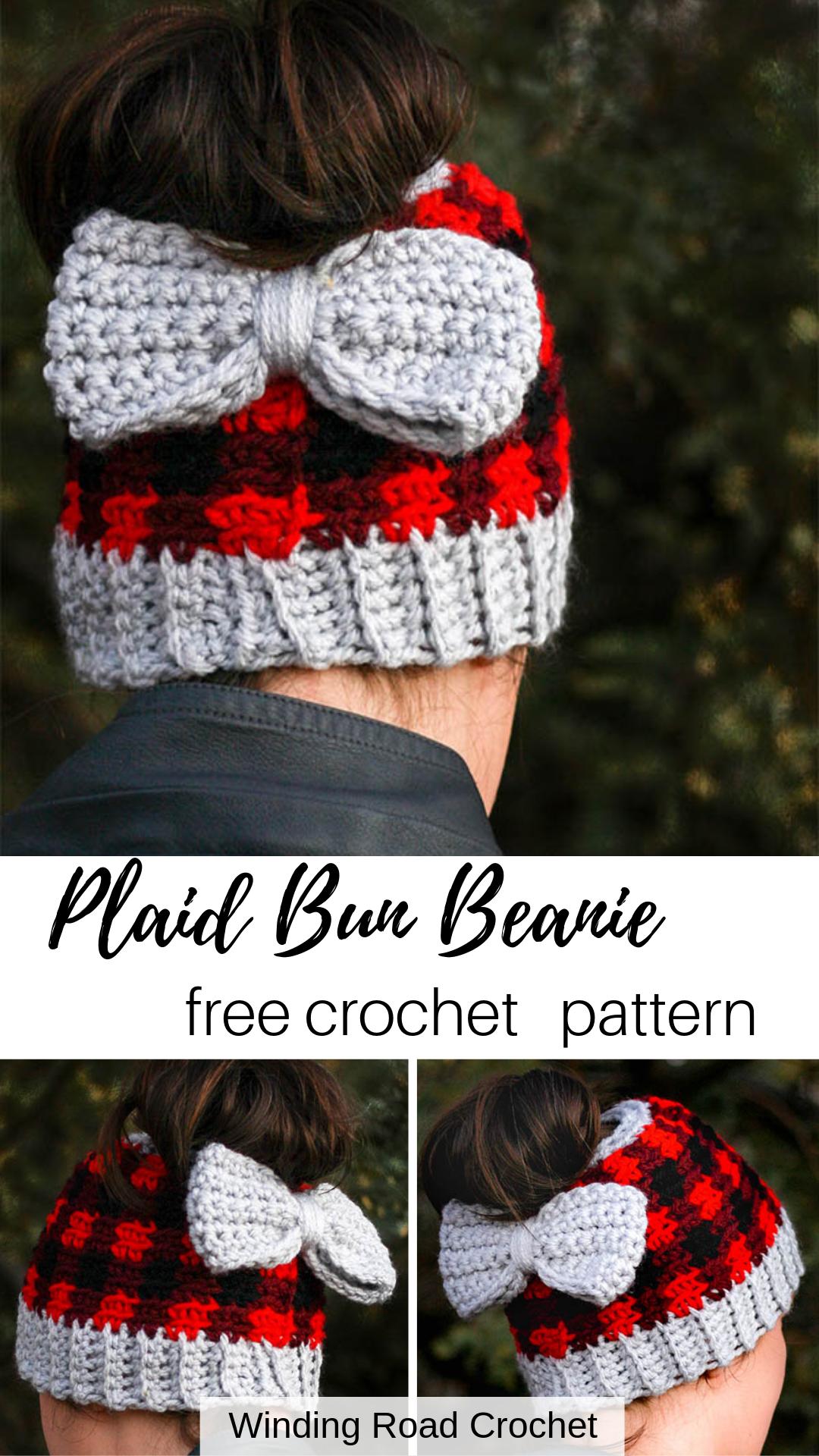 Chunky Plaid Bun Beanie – Winding Road Crochet