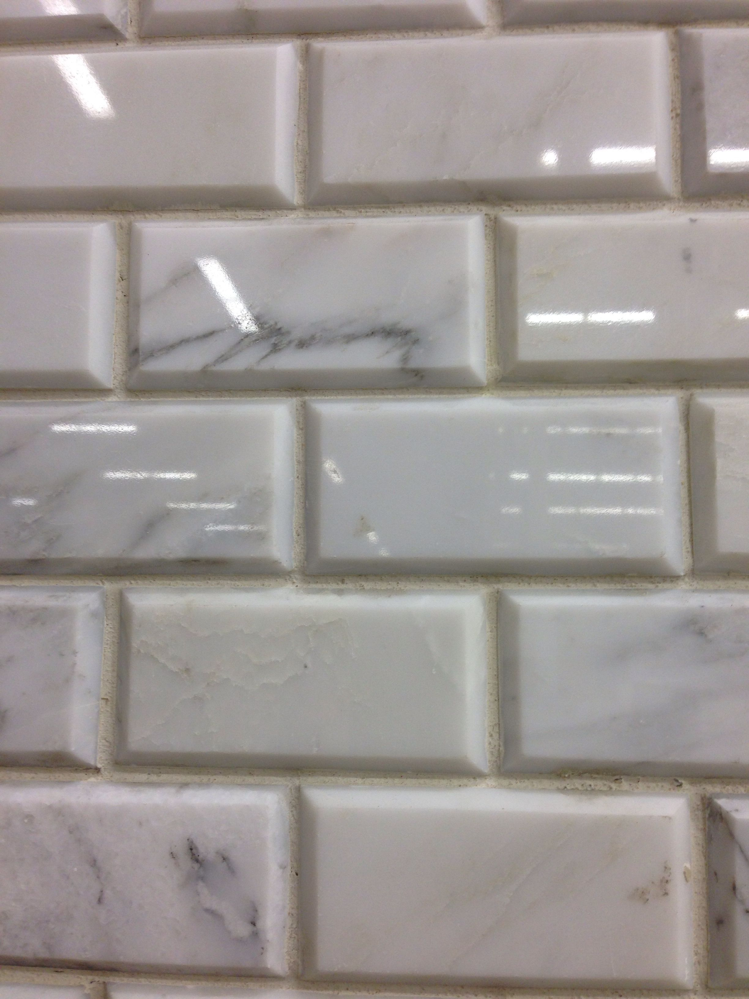 beveled subway tile design | Marble Subway tile beveled | Marble subway tiles, Bathroom ...