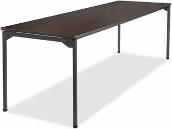 Open corner leg design for maximum leg room, Extremely durable table, Single cam, quick release leg lever for easy set up, Folds flat for compact storage, Bumpers protect tables when stacked, Non-mar feet, Made in USA