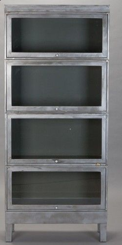 4 Stack Eames Era Metal Barrister Lawyers Bookcase Mid Century