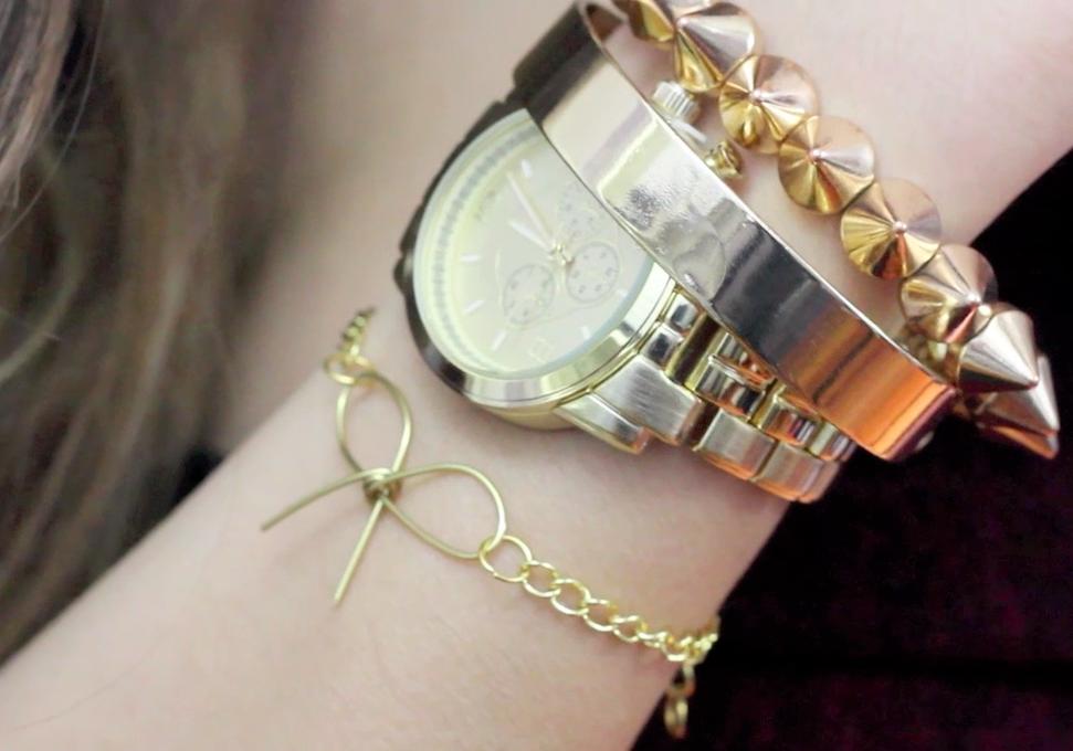 DIY  wire bow & chain bracelet
