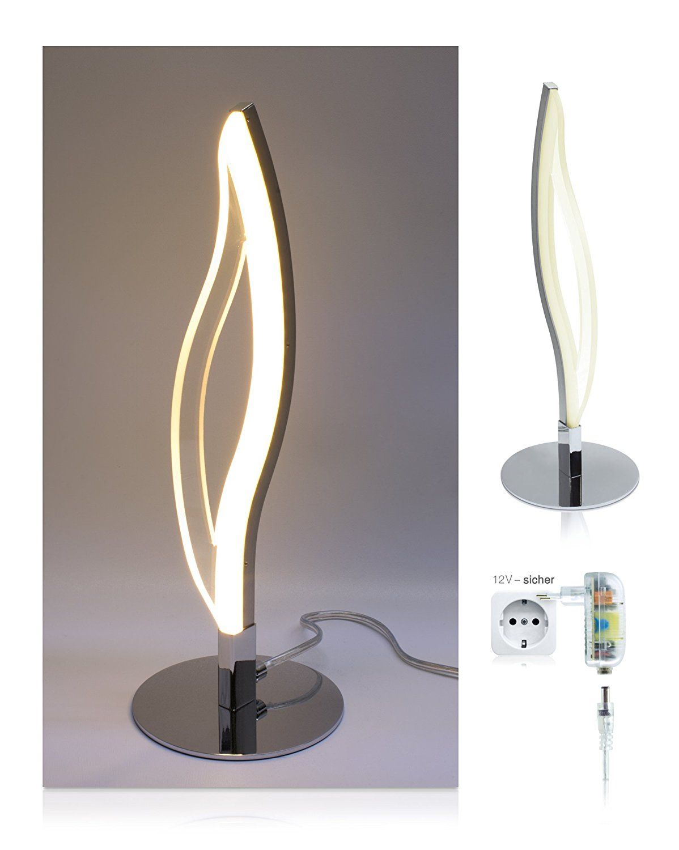 Dimmbare Led Lampe Lina Typ Tischleuchte Tischlampe Modernes Design Warmes Licht Warmweiss 3000k 6w Chrom Glanzend Led Tischlampe Tischlampen Led