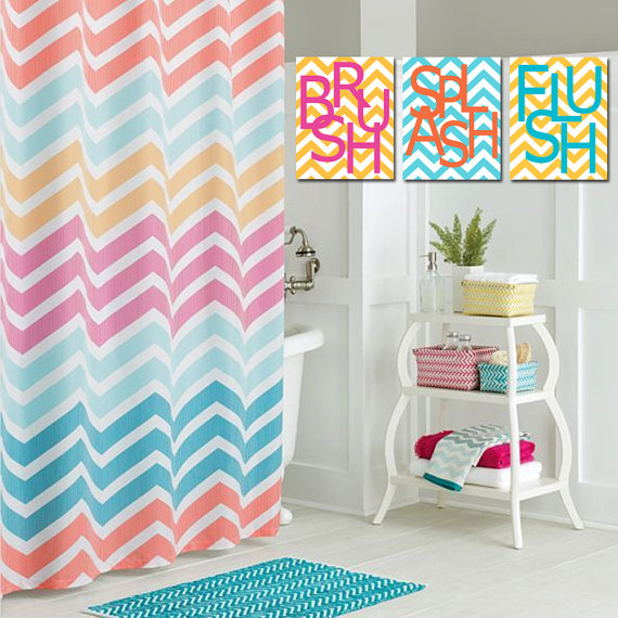 Kids Bathroom Wall Art Print Set Of Three 8x10 Chevron Prints Wash Brush Soak Splish Splash Flush Floss Choose Your Colors