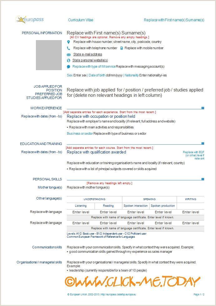 Sample Of Europass Cv format Sample Of Europass Cv format