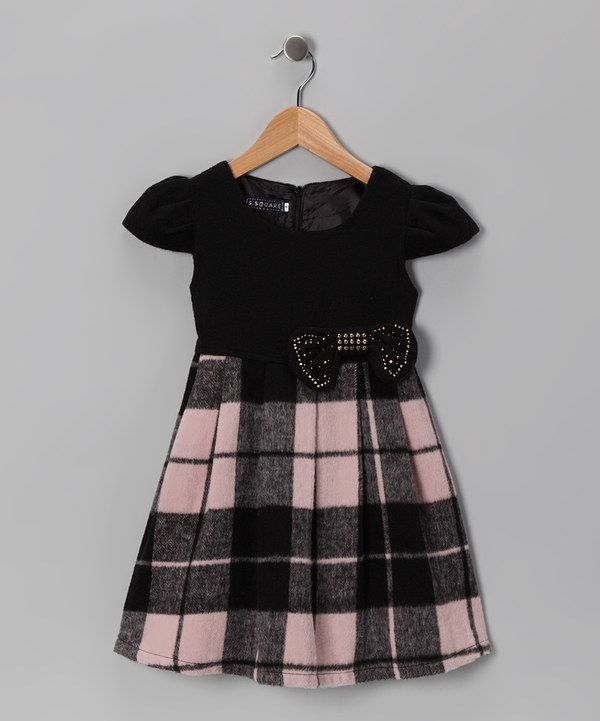 This Black & Pink Plaid Bow Dress - Girls by S Square is perfect! #zulilyfinds