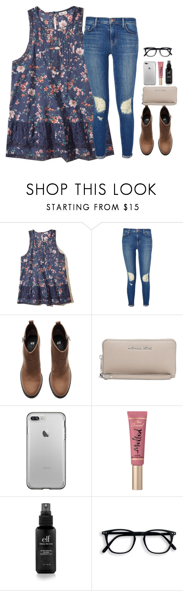 """""""happy saturday!!"""" by arieannahicks ❤ liked on Polyvore featuring Hollister Co., J Brand, H&M, Michael Kors, Too Faced Cosmetics and Kendra Scott"""
