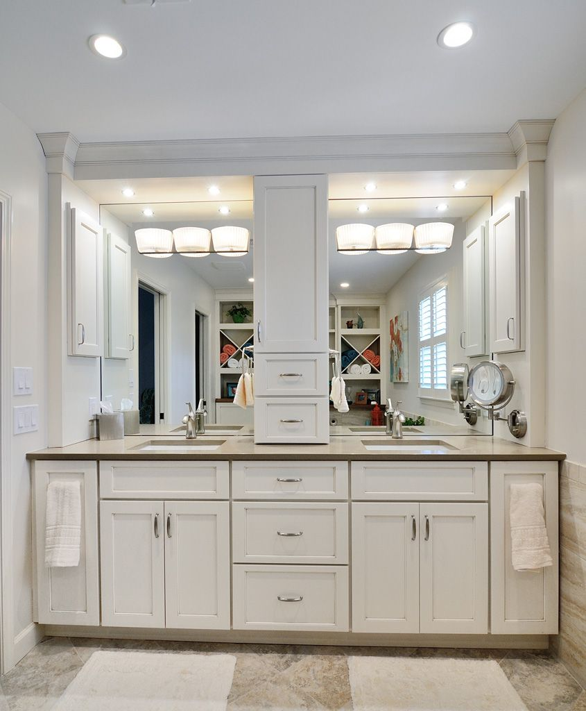 Recessed Lighting Placement Over Vanity : Bathroom comely white decoration using