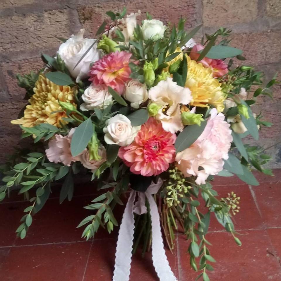 Beautiful bridal handtied bouquet of david austin roses keira