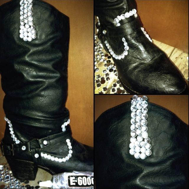 7c531cc0f3d24 DIY rhinestone cowboy boots! Use E-6000 glue and it'll last ...