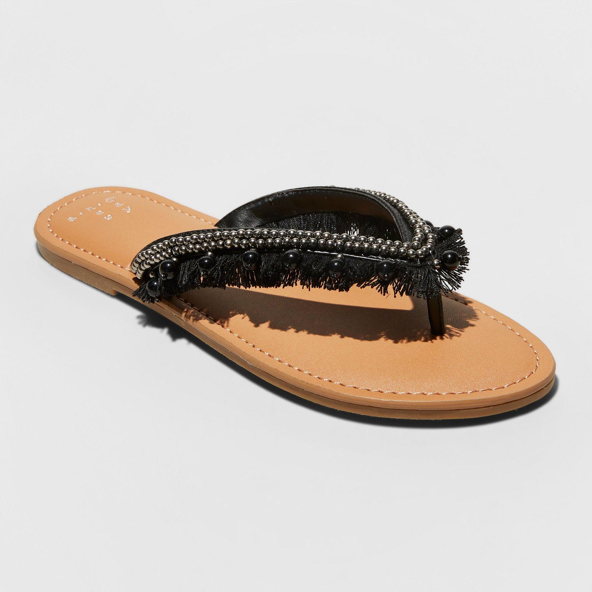 b5dbe057b9e Women s Alexis Beaded Fringe Thong Sandals - A New Day Black 7.5