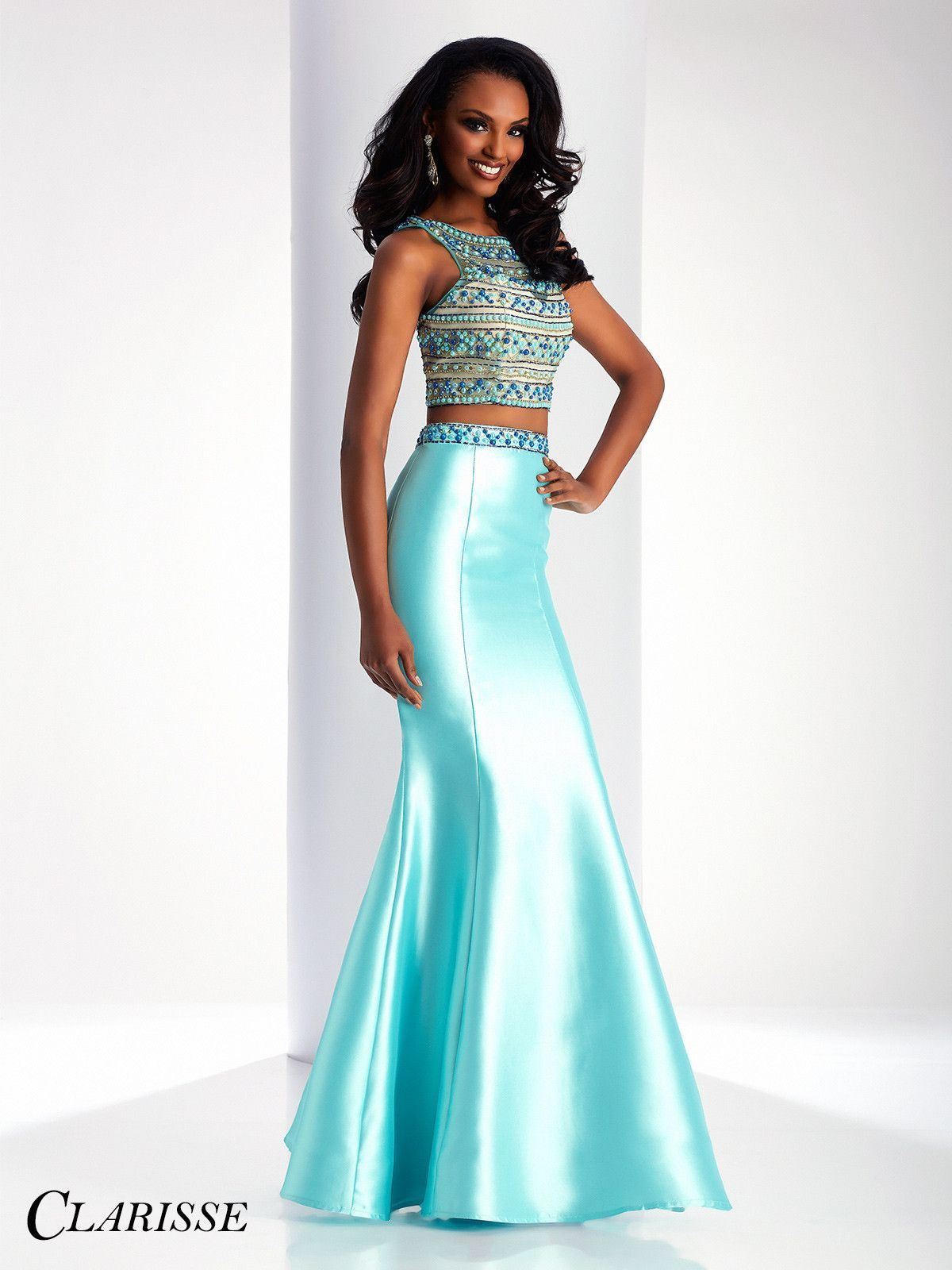 Clarisse Prom 3071 Aqua High Neckline Two-Piece Prom Dress | Prom ...