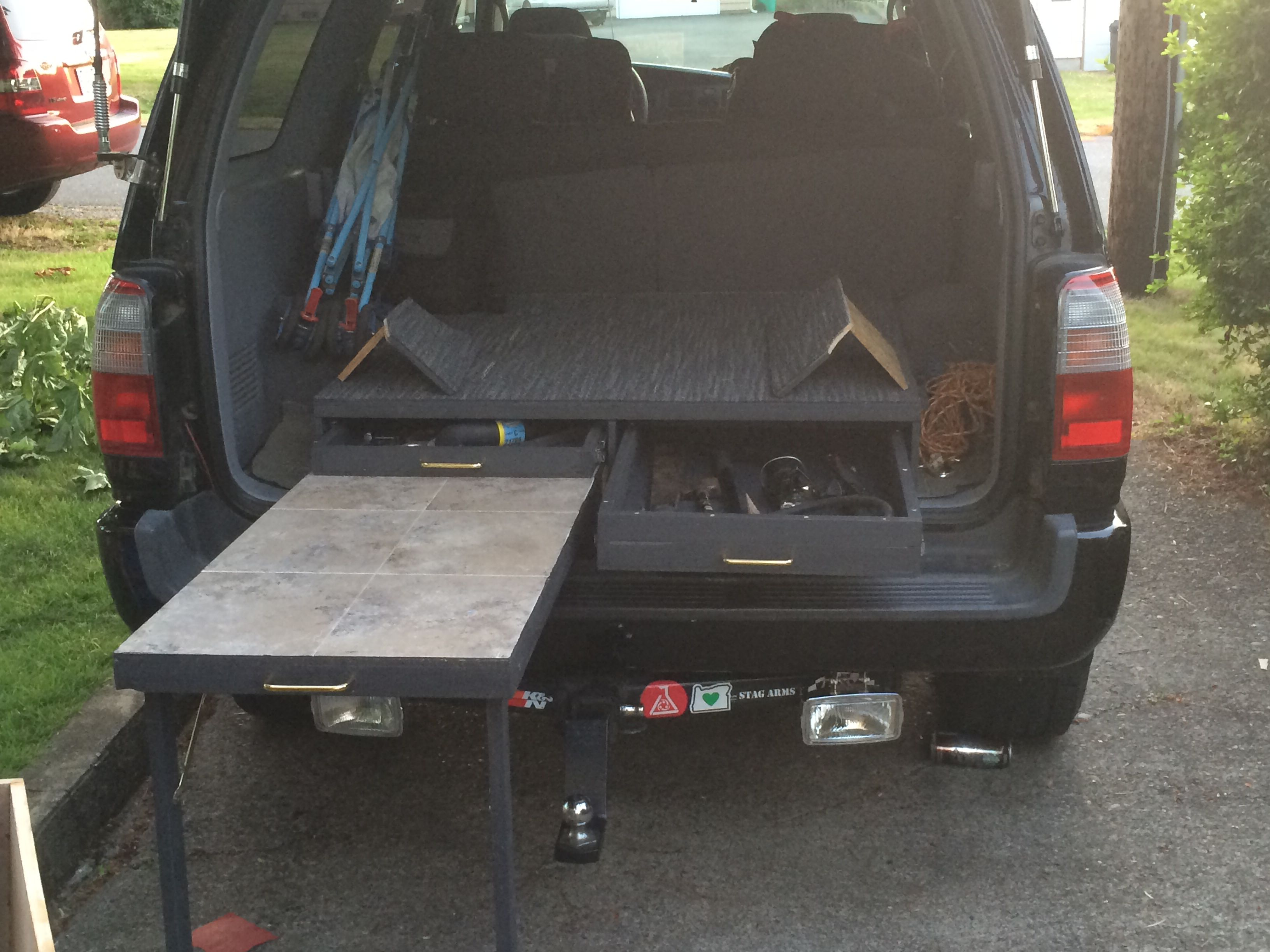 Completed My Cargo Box Two Drawers And A Pull Out Table Weighs About 40lbs Cost About 40 Bucks Jeep Interiors Suv Camping Toyota 4runner