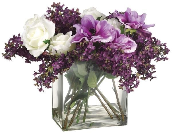 Lilac, Anemone and Rose Bouquet in Glass Vase, Purple and White