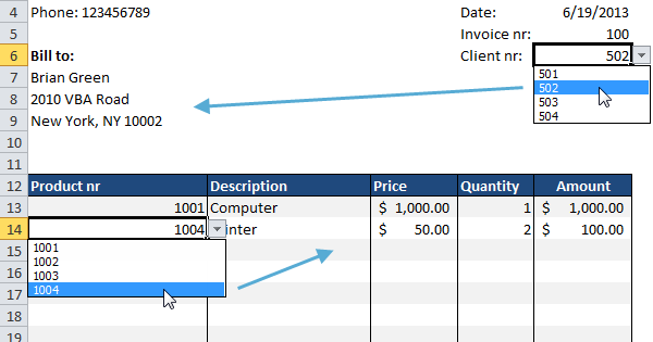 Automated Invoice In Excel