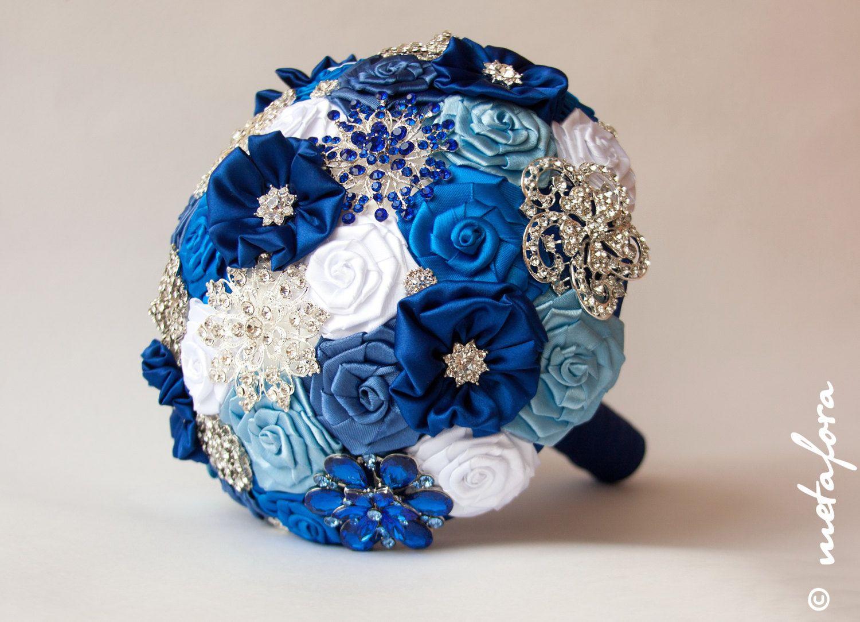 SALE!!! Brooch Bouquet, Blue White Fabric Bouquet